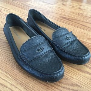 Coach Black Leather Odette Slip On shoes Womens 8B